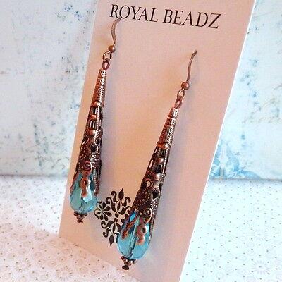 Art Nouveau Victorian Style Cone Aqua Blue Crystal Copper Long Earrings 4