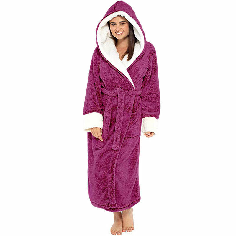 Women Dressing Gown Hoodie Nightwear Fluffy Soft Warm Winter Hooded Bath Robe 6