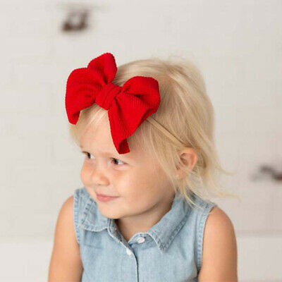 Nylon Baby Toddler Girls Big Bow Knot Headband Hairband Stretch Turban Head Wrap 8
