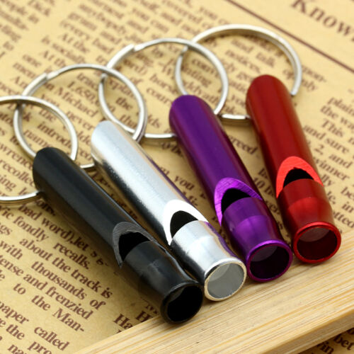 2pc Survival SOS Safety Metal Whistle Emergency Camping Hike Outdoor Kit Keyring 2