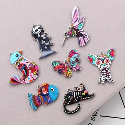 10Pcs Mixed Color Bird Dog Animals Enamel Charms Pendant Connector DIY Jewelry 7