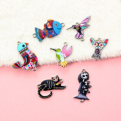 10Pcs Mixed Color Bird Dog Animals Enamel Charms Pendant Connector DIY Jewelry 4