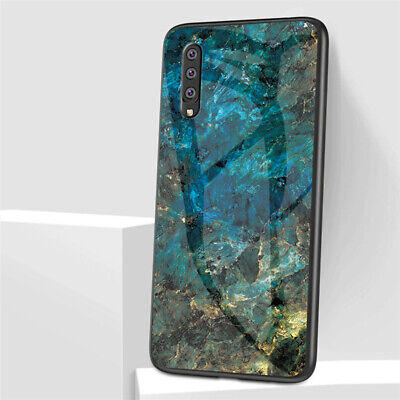 For Samsung Galaxy A70 A50 A20E A10 Marble Tempered Glass Hybrid Hard Case Cover 6