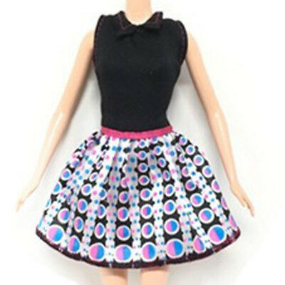 "Causal Wear Fashion Clothes For 11.5"" Dolls Black Top Dotted Short Dresses Gift 2"