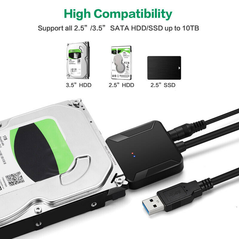 SATA to USB 3.0 2.5/3.5 inches HDD SSD Hard Drive Converter Cable Line Adapter 4