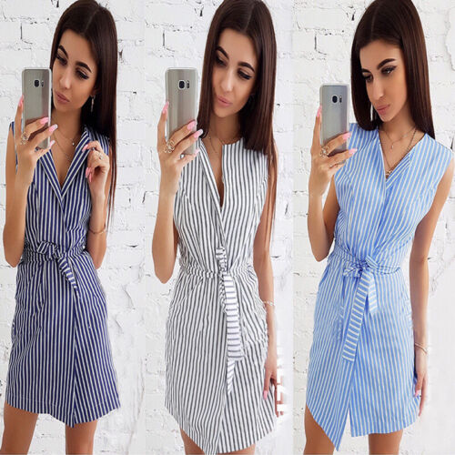 Fashion Women Striped Pattern Short Sleeve V Neck Lace Up Belt Dress B 2