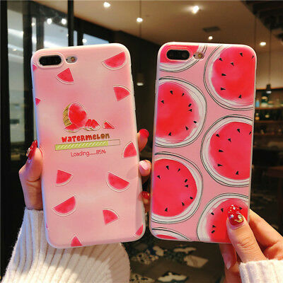 For iPhone X 8 6s 7 Plus Cute Fruits Pattern Slim Relief Matte Soft Case Cover 3
