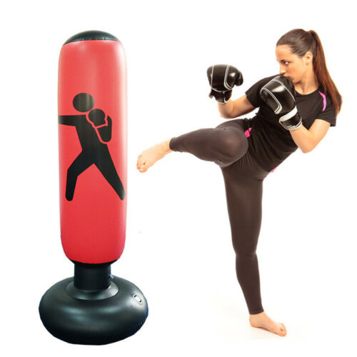 1.6m Inflatable Boxing Punching Bag Kick Training Tumbler Air Pump Sandbag W6M5