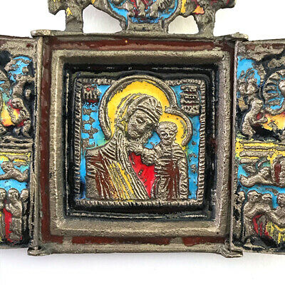 Antique Russian Orthodox Enameled Brass Folding Travel Skladen Icon, 19th C. 2