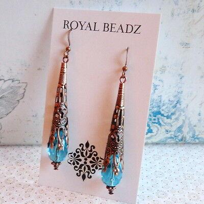 Art Nouveau Victorian Style Cone Aqua Blue Crystal Copper Long Earrings 3