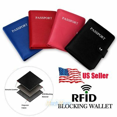 RFID Blocking Passport Holder Travel Wallet Leather Case Cover Securely Holds US 2