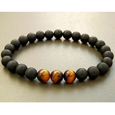 Mens Black AAA Matte Onyx & Tiger Eye Yoga Beaded Stretch Bracelet Gift for Him 3