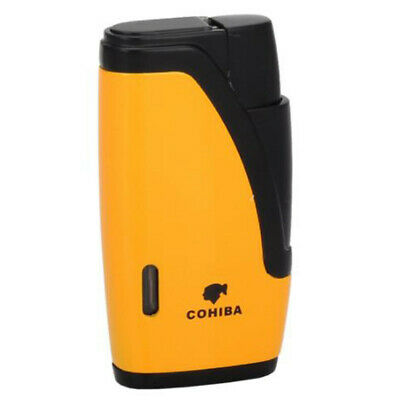 COHIBA Yellow&Black 2 Jet Flame Windproof Torch Lighter Cigar Cigarette W/Punch 2
