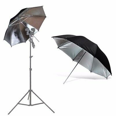 "2 x 43"" Photo Studio Black Silver Reflector Umbrella Video Flash Reflective 2"