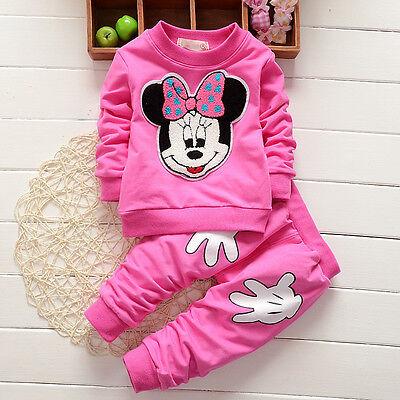 Enfants Bébé Filles Vêtements Minnie Mouse Pull Hauts + Pantalon Jogging Tenues 8