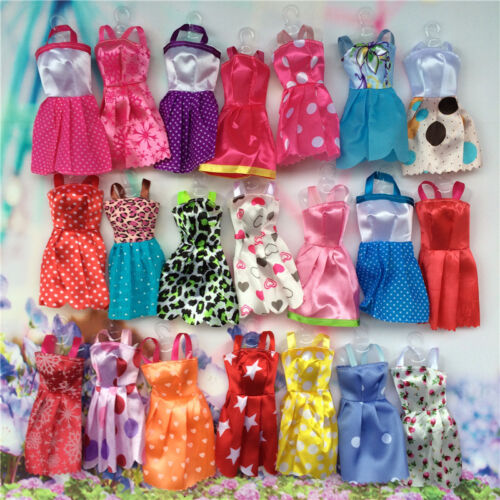 10 pcs/Lots Fashion Party Daily Wear Dress Outfits Clothes For Barbie Doll Toys