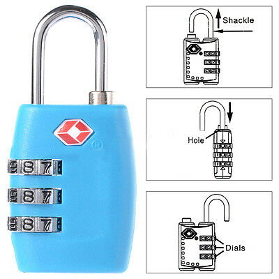 TSA Resettable 3 Digit Combination Lock Travel Luggage Suitcase Lock Padlock SA 3