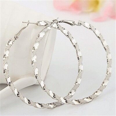 Women Silver Plated Circle Large Twisted Hoop Earring Chic Jewelry Girls Gift LH