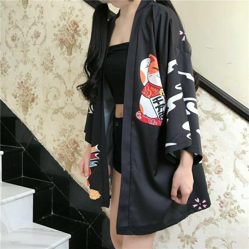 Damen Japanisch Mantel Kimono Lucky Cat Strickjacke Bluse Yukata Jacke Shirt