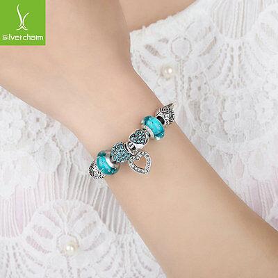 European 925 Silver Love Heart Dangle Charm DIY Bangles With Charm Bead Jewelry 6