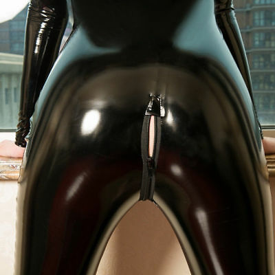 Latex PVC Leder Wetlook Bodystocking Overall Body Catsuit Langarm 2-Way Zipper 5