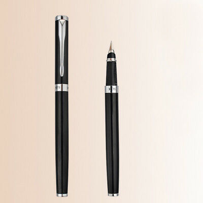 2018 Hero 9075 Black Metal China Push Fountain Pen Medium Fine Nib 0.5 mm Gift