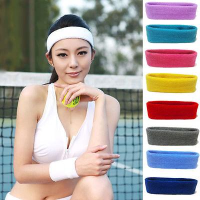 Women/Men Cotton Sweat Sweatband Headband Yoga Gym Stretch Head Band For Sport 4