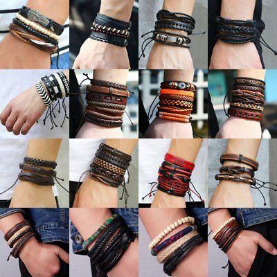 Men Women Punk Handmade Multilayer Leather Bracelet Braided Bangle Wristband Set