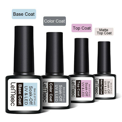 UV Nail Gel Polish Soak Off LED LEMOOC ® Colour Manicure Base Top Matte Coat 8ml 10