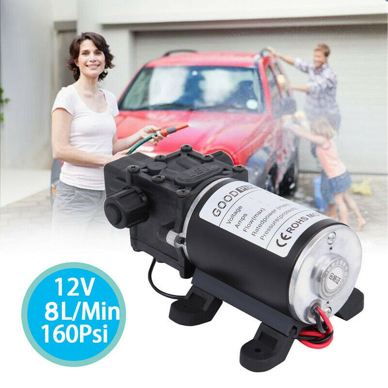 12V 100W Water Pump High Pressure 160PSI 8Lpm Self Priming Boat Caravan Camping 3