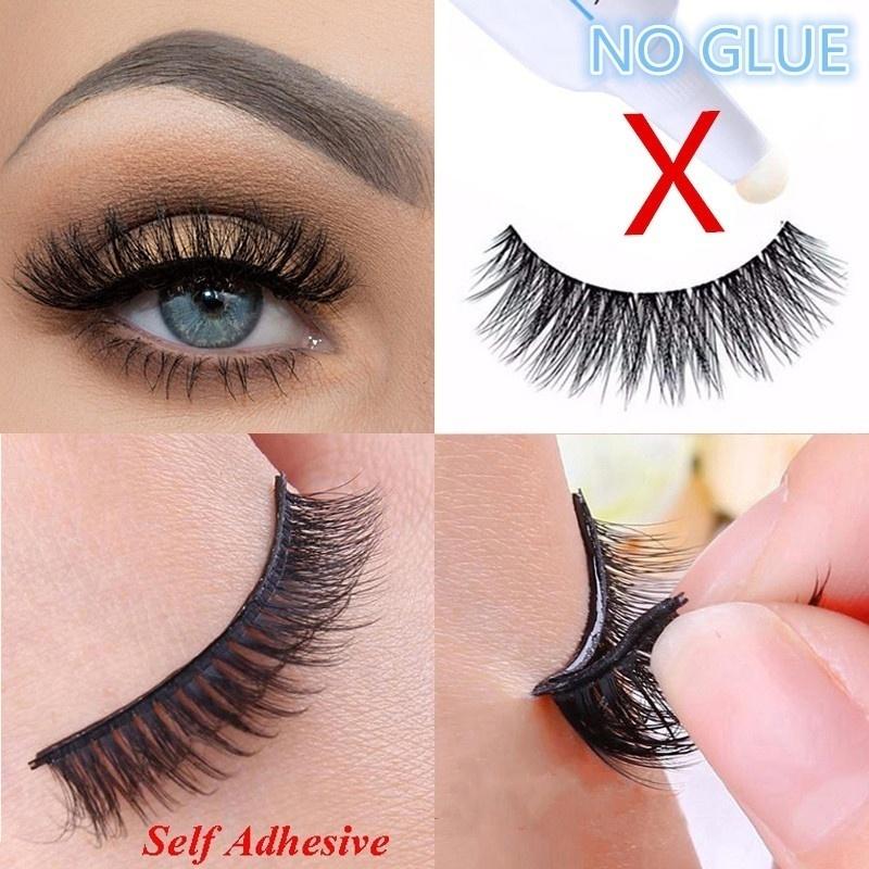 3D Natural Self Adhesive False Eyelashes Extension Reusable Curly Eye Lashes HOT 2