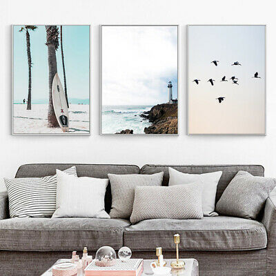 Ocean Beach Wall Art Canvas Poster Nordic Pink Sea Print Picture Home Decoration 2