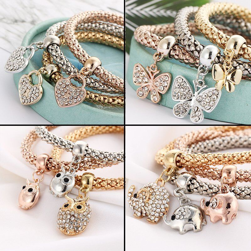 Women Girls 3Pcs/Set Gold Silver Rose Gold Bracelets Rhinestone Bangle Jewelry 4