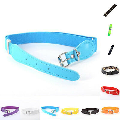 Toddler Candy Color Waist Belt Buckle PU Leather Kids Girls Boys Waistband Newly 2