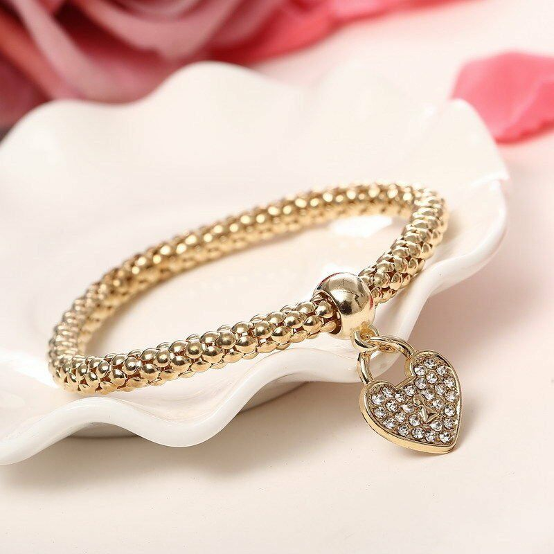 Women Girls 3Pcs/Set Gold Silver Rose Gold Bracelets Rhinestone Bangle Jewelry 9