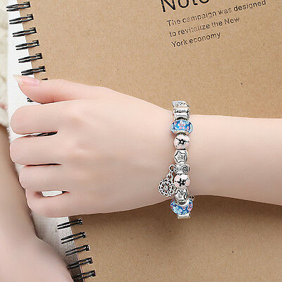European 925 Silver Charms Bracelet DIY With Flower Bead Women Christmas Jewelry 6