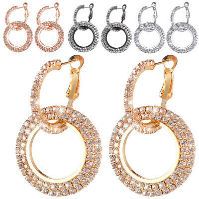 925 Silver Rose Gold Crystal Round Hoop Earrings Womens Jewellery Party Wedding 4