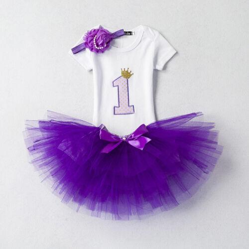 50bcd06b29b0 BABY GIRLS 1ST First Birthday Dress Kids Romper Tops Tutu Skirt ...