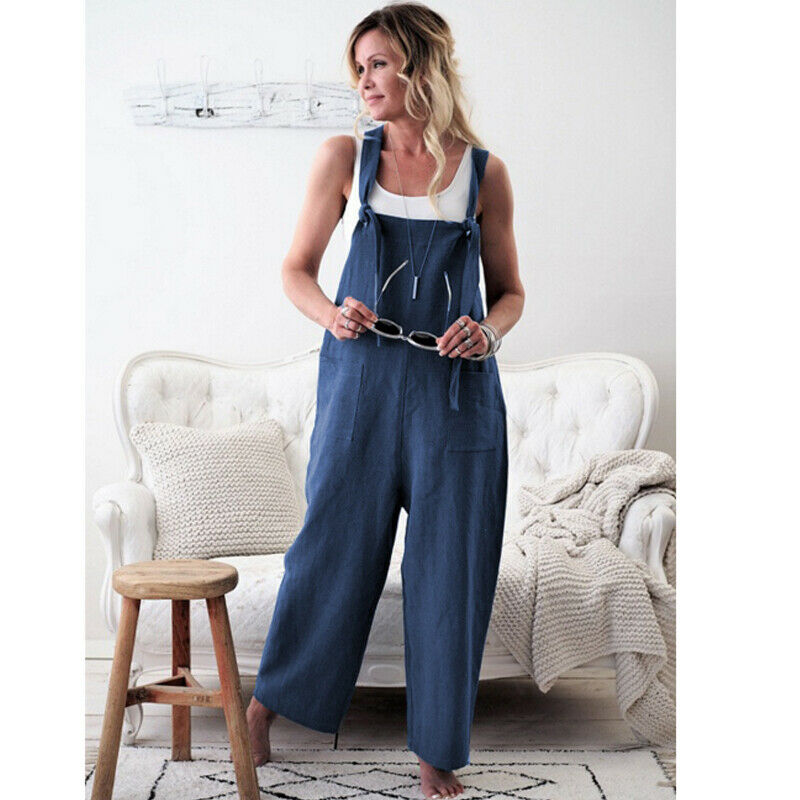 Women Oversized Loose Dungaree Cotton Linen Jumpsuit Playsuit Overalls Trousers 7