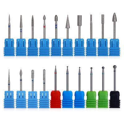 Nail Drill Bit Ceramic Tungsten Carbide Burr Electric Diamond Head Manicure Tool 10
