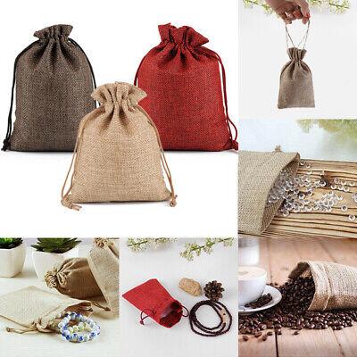 Small Burlap Jute Hessian Wedding Favor Pack Jewellery Bag Drawstring Pouches UK 2