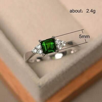 Elegant Women's Wedding Set Rings 925 Silver Princess Cut Emerald Ring Size6-10 5