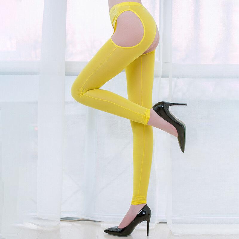 Women IceSilk Shiny Open Crotch Long Sheer Pants See Through Elastic Leggings * 10