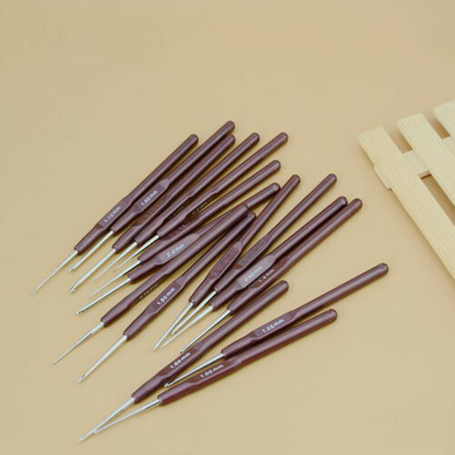 Set of 16 Soft Grip Handle Aluminum Crochet Hooks Knitting Needles Tool S 5