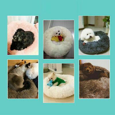 US Fur Donut Cuddler Pet Calming Bed Dog Beds Soft Warmer Medium Small Dogs Cats 11