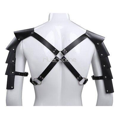 Männer Leder Körper Brust Harness Harnisch Kostüm mit Schulterpanzer Schwarz 3