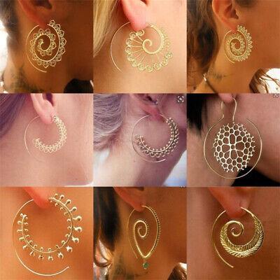 Boho Women Jewelry Holiday Gypsy Tribal Ethnic Mandala Hollow Hoop Earrings Gift 6