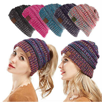 Women's Ponytail Beanie Ribbed Winter Messy Bun Cable Warm Soft Knit Hat AU 2
