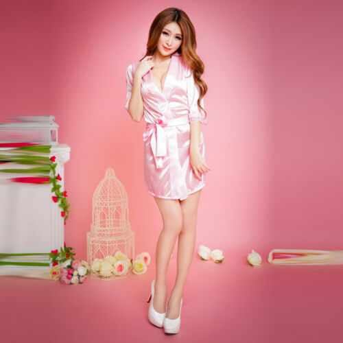 Women Sexy Lingerie Sleepwear Satin Silk Lace Robes Sleep Night Dress Skirt LG 9