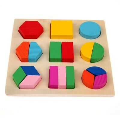 Educational Puzzle Sets For Baby Kids Early Learning Wooden Geometry Wood Toys 9